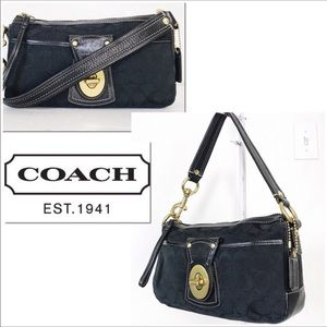 Coach Black Signature Jacquard & Leather Satchel